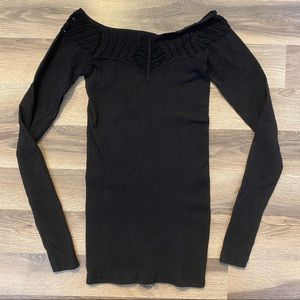 Free People Intimately Black Cut Out Long Sleeve